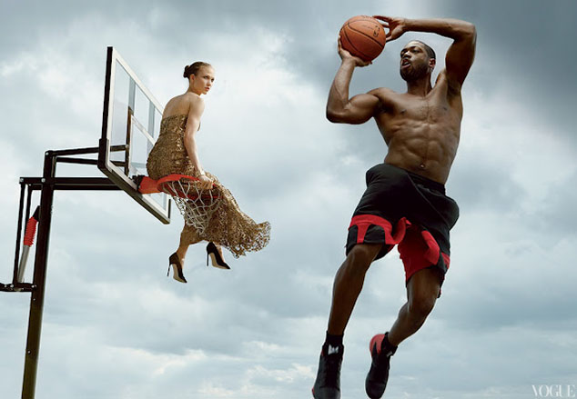 Dwyane Wade and Karlie Kloss Composite by Annie Leibovitz for June 2012 US Vogue