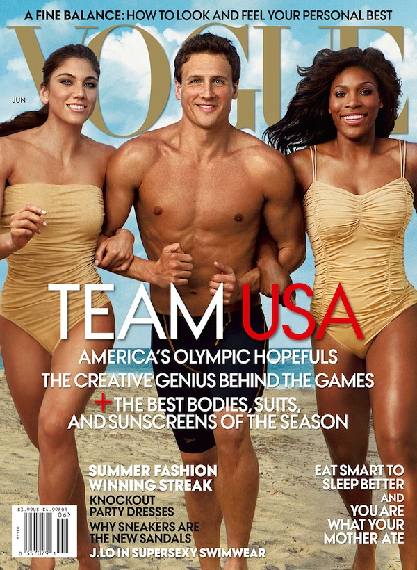 Hope Solo, Ryan Lochte, and Serena Williams by Annie Leibovitz for June 2012 US Vogue Cover