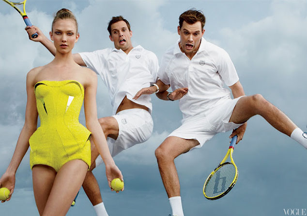 Mike Bryan, Bob Bryan, and Karlie Kloss 3 by Annie Leibovitz for June 2012 US Vogue