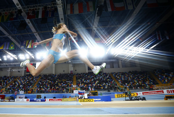 Sestak of Slovenia competes in women's triple jump qualification during world indoor athletics championships at Atakoy Athletics Arena in Istanbul