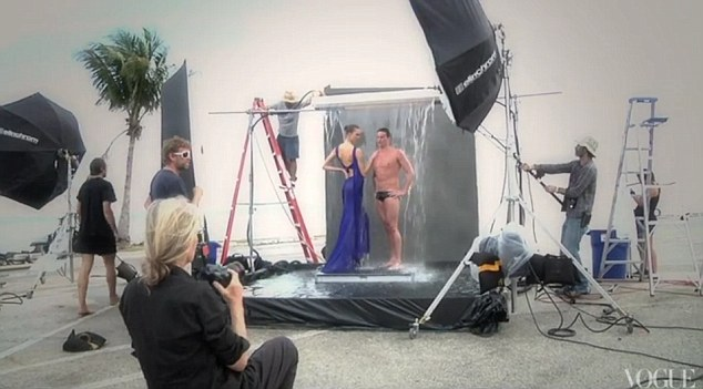 Ryan Lochte and Karlie Kloss by Annie Leibovitz for June 2012 US Vogue