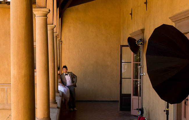 Wedding Set up - Gridded beauty dish as key, parabolic as fill