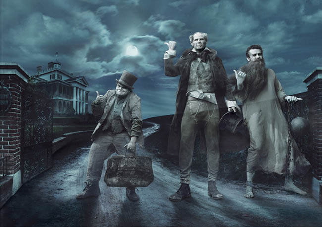 Jack Black, Will Ferrell and Jason Segel as the Hitchhiking Ghosts from The Haunted Mansion in New Disney Parks Dream Portrait by Annie Leibovitz (AP Photo/Annie Leibovitz for Disney Parks/Disney Parks.com)