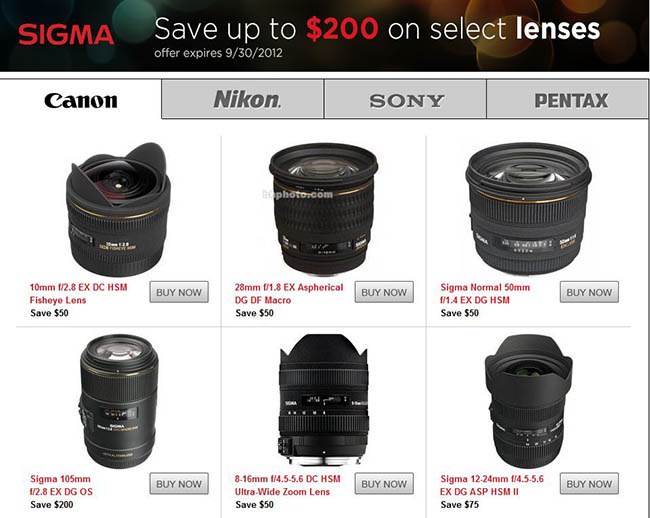 Sigma Rebates on B&H