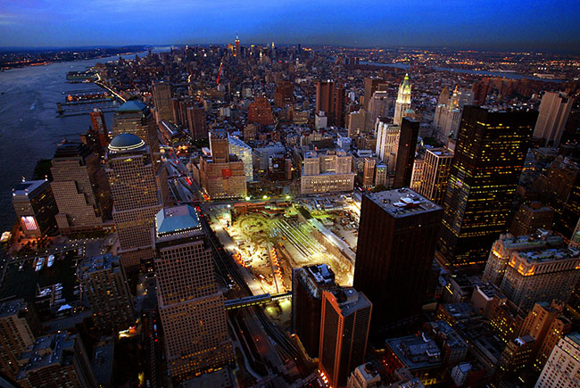 Ground Zero Night Skyline by Vincent LaForet/The New York Times