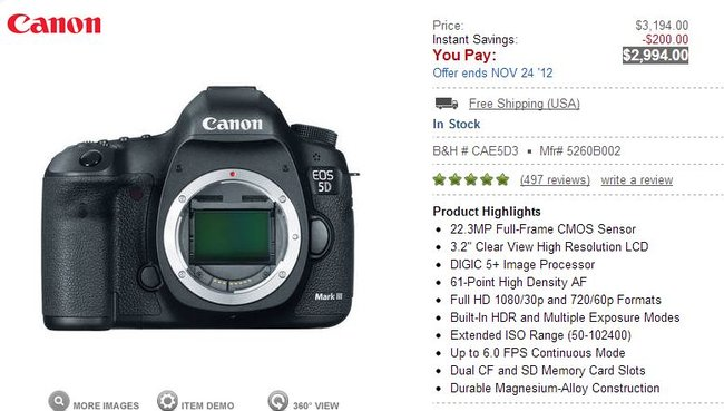 Canon 5D mkIII for $2994 at B&H